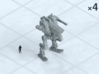 """6mm Autocannon Walker (4) 3d printed Shown on 1"""" grid with 6mm figure (not included) for scale."""