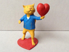 Valentines Day Cat holding Heart 3d printed Painted Plastic