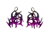 Branching Earrings 3d printed Violet Purple Strong & Flexible