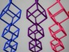 Dangling Cubes Earrings 3d printed Dangling Cubes Earrings in Blue, Purple, and Pink