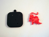 """Lion for """"Keychain Zodiac Lion"""" (two color) 3d printed Base and Lion printed in black and red polished plastic."""