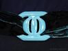 Buckle for material belt in porcelain 3d printed Gloss Blue Porcelain belt buckle