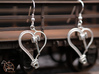 Crosshead Heart Earrings  3d printed Shown with Fish Hooks added (these are not included on Shapeways Sales)