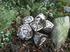 Tengwar Elvish D10 (Numbered 1-10) 3d printed Complete Set Printed in Polished Nickel Steel