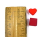 Heart Token, Miniature 3d printed Heart Token next to Ruler and 10mm cube for sizing.