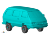 "1/87 Scale 4x4 Mini Van ""TOY"" 3d printed Shown with wheels mounted."
