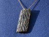 Groovy Bend pendant 3d printed Black PA12 with silver leaf, Similar look to Antique Silver