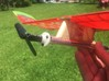 """E20_Motor_Mount 3d printed The mount is designed for a 4mm carbon tube fuselage, but easily adapts to other applications. The photo shows the mount on a Salt Peanuts E-20 with a fuselage made from an F1B tailboom.  It also easily mounts to a balsa """"noseblock."""""""