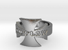 Outlaw Biker Iron Cross Logo Ring Size 11 3d printed