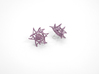 Aster Earrings (Studs) 3d printed Custom Dyed Color (Wisteria)