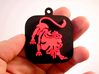 "Base for ""Keychain Zodiac Lion"" (two color) 3d printed Base and Lion printed in black and red polished plastic."