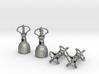Silver Tibetan Dorje - Thunderbolts & Bells set 3d printed