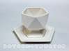 Icosahedral Cup 3d printed Shown with Saucer - Sold Separately