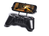 PS3 controller & Cat B15 3d printed Front View - A Samsung Galaxy S3 and a black PS3 controller