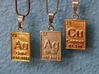 Silver Periodic Table Pendant 3d printed With it's friends, Gold & Copper!