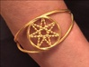 Woven Fairy Star armband/cuff 3d printed How the woven pentacle cuff looks as an armband. The material is polished gold steel.