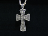 Ornate Cross Pendant - Large 3d printed Silver - Aftermarket Patina - Lightly Polished