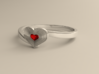 Heart of ruby ring 3d printed