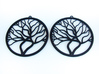 Tree Big Hoop Earrings 60mm 3d printed Tree Big Hoop Earrings 60mm printed in Black Strong & Flexible.