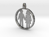 Happy Couple round 3d printed pendant. personaliza 3d printed