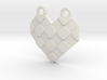 Origami Heart Pendant - checkered 3d printed
