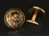 Lion Cufflinks 3d printed This is a 3D render of the model with bronze texture