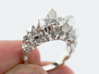 Crystal Ring Size 10 3d printed Rhodium Plated