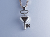 The key to a heart, 002 3d printed 925 Sterling Silver Pendant, with a hand polished glossy finish, chain not included