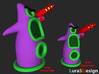 evil Purple Tentacle 6cm 3d printed compared to the large 8cm version
