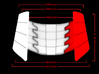 Iron Man Oblique Armor (Left Side) 3d printed Front Measurements (What's Highlighted in Red will be printed)