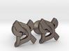 "Hebrew Monogram Cufflinks - ""Aleph Pay"" Small 3d printed"