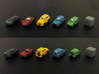 Miniature cars 20mm, 5 models (5pcs) 3d printed Hand-painted cars (white plastic) 10mm cube on the right for scale.