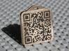 Keychain with Your Own Bitcoin QR code 3d printed Front side, low parts painted black after receipment from Shapeways