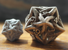 Large Celtic D20 3d printed Large D20 in Stainless Steel pictured with original D20 for scale