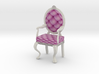 1:24 Half Scale Pink/White Louis XVI Oval Chair 3d printed