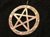 Pentacle pendant - Goddess chant 3d printed Pentacle pendant with Goddess names in raw brass.