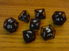 Rollcage Dice 7-Piece Set With Percentile Dice 3d printed Printed in Black Strong & Flexible