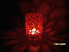 Coraline Tealight in Metal or Plastic 3d printed Coral Red Strong & Flexible polished printed